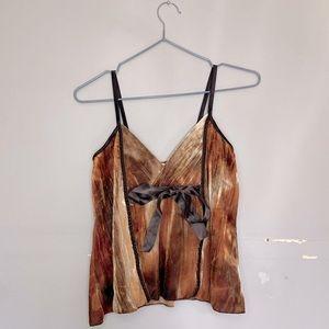 KDK London Brown/Tan Y2K Tie Detail Cami!